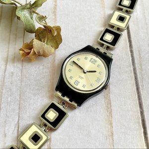 "Swatch Black & White ""Chessboard"" Links Watch"